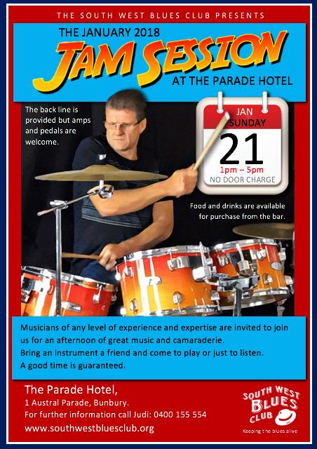 Jam Day – Parade Hotel – 21 Jan 2018 – South West Blues Club